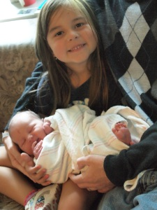 Katie holding Anabel for the first time.