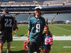 Katie's first game at the Linc and she's on the field.