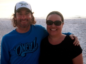 Janie and I after a long, beautiful, relaxing day at the beach.