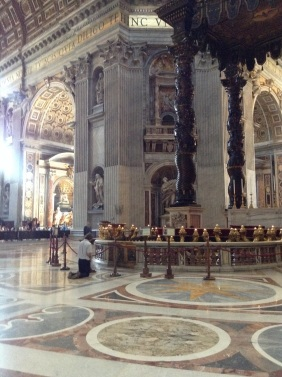Praying at St. Peter's altar
