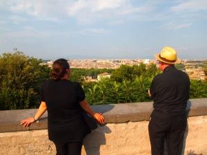Janie and Cardinal Stafford admiring Rome