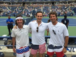 At the US Open tennis tournament with Justin Castello and Joe Young.