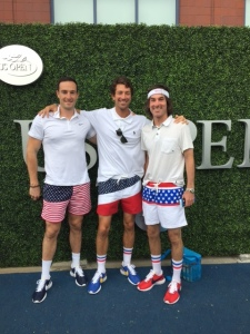 On the blue carpet sporting our American pride. Ran into John McEnroe who told us,